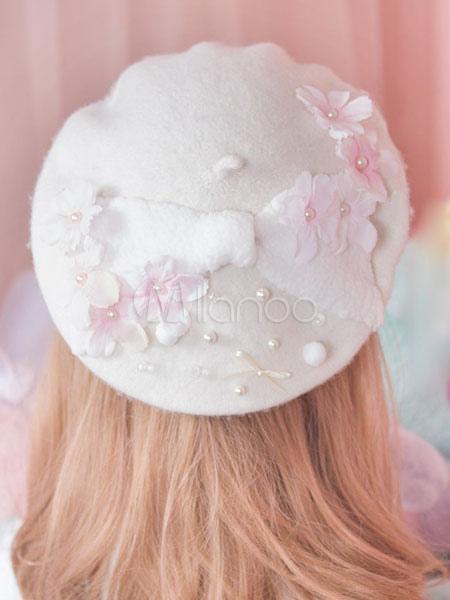 1361f6c63cc19 ... Sweet Lolita Hat White Wool Flower Pearls Beaded Lolita Beret Hat-No.2  ...