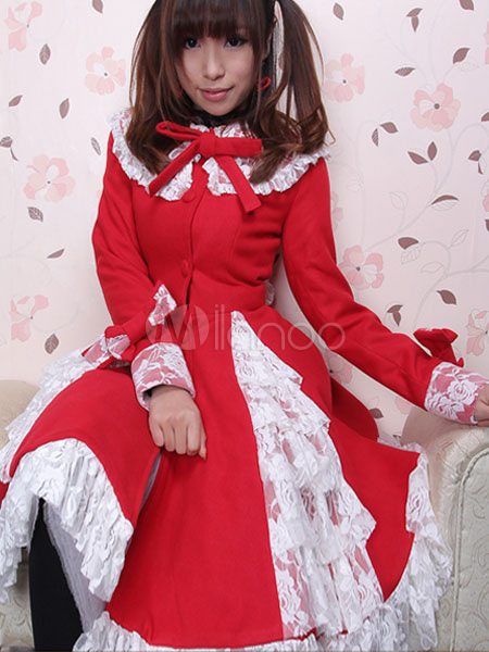 Buy Sweet Lolita Coat Red Lace Trim Long Sleeve Bows Lolita Cashmere Overcoat for $159.99 in Milanoo store