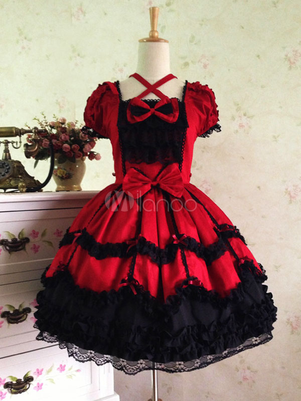 Buy Sweet Lolita Dress OP Two Tone Puff Short Sleeve Cotton Lace Ruffle Lolita One Piece Dress With Bows for $94.49 in Milanoo store
