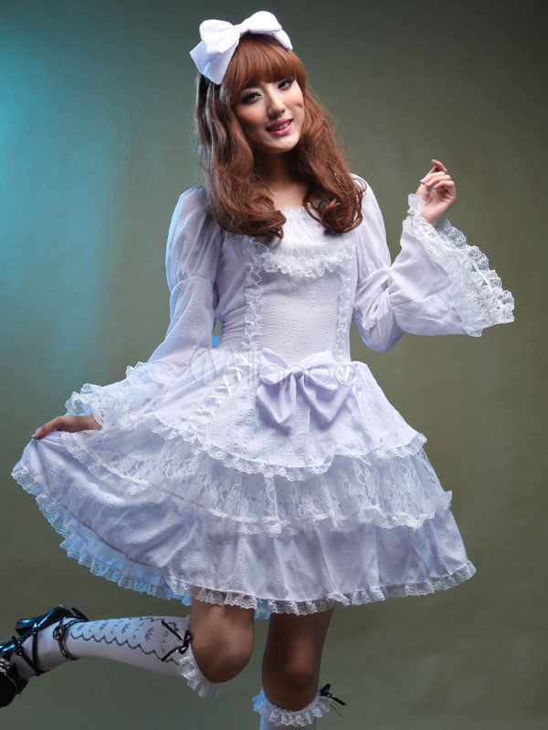 Buy Sweet Lolita Dress OP White Chiffon Lace Bell Long Sleeve Ruffle Layered Lolita One Piece Dress With Bows for $113.15 in Milanoo store