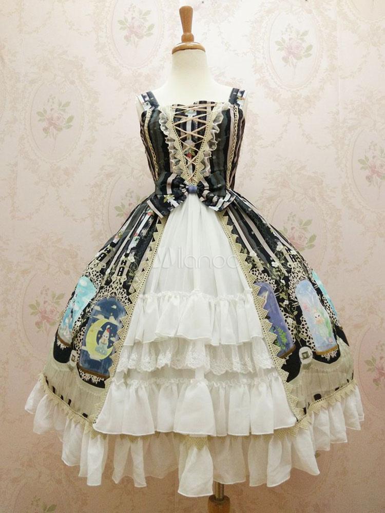 Buy Sweet Lolita Dress JSK Chiffon Crystal Rabbit Printed Lace Ruffle Lolita Jumper Skirt for $164.99 in Milanoo store