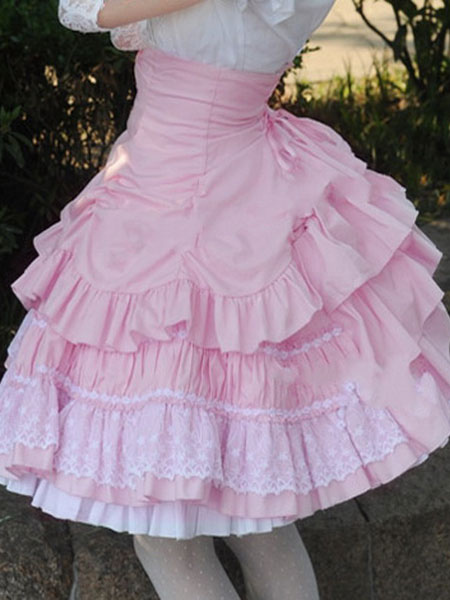 Buy Sweet Lolita Dress SK Pink Lace Criss Cross Ruffle High Waist Cotton Lolita Skirt for $48.99 in Milanoo store