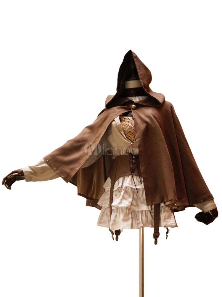 Buy Gothic Lolita Cape Hooded Steampunk Suede Lolita Outwear With Rivets for $64.79 in Milanoo store