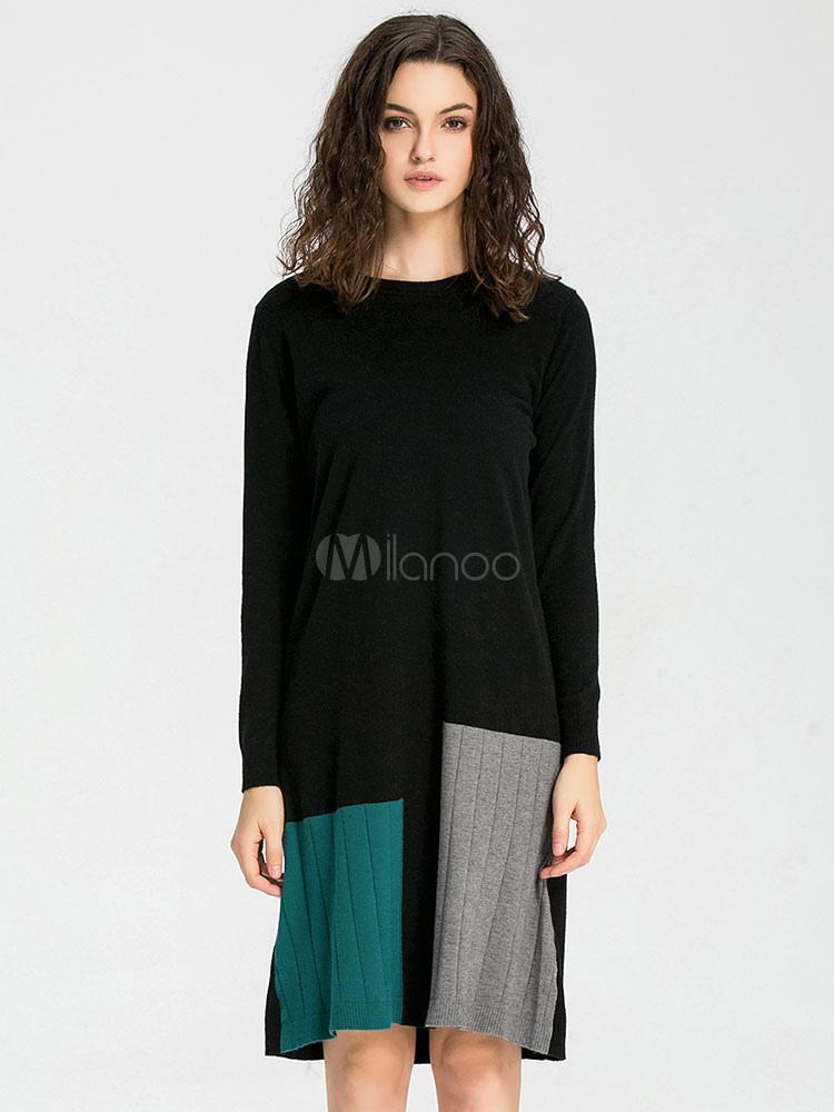 096c5e563643 Maglia abito manica lunga Multicolor donna oversize Shift Dress-No.1 ...