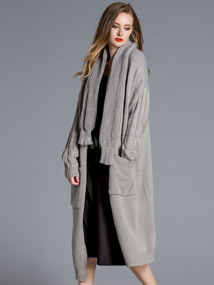 Buy Long Cardigan Coat Women's Grey Open Front Knee Length Sweater Cardigan With Knit Scarf for $62.99 in Milanoo store