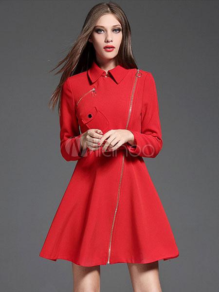quality design 1b0ae c161f Cappotto donna rosso manica lunga cerniera obliqua Abito a pieghe cappotto  con cintura