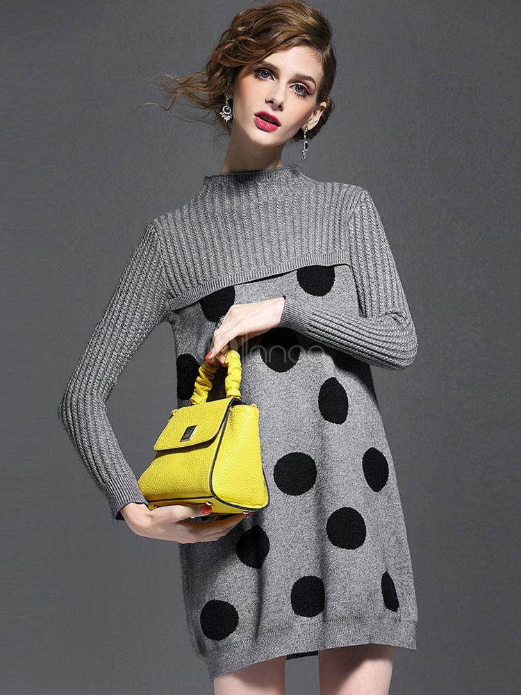 3e59102de4e Grey Sweater Dress Crewneck Long Sleeve Polka Dot Knit Winter Dress For  Women-No.