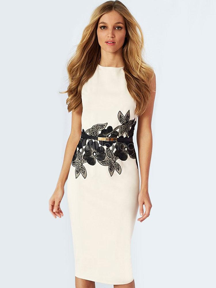 White Pencil Dress Applique Sleeveless Women's Cotton Blend Bodycon Dress