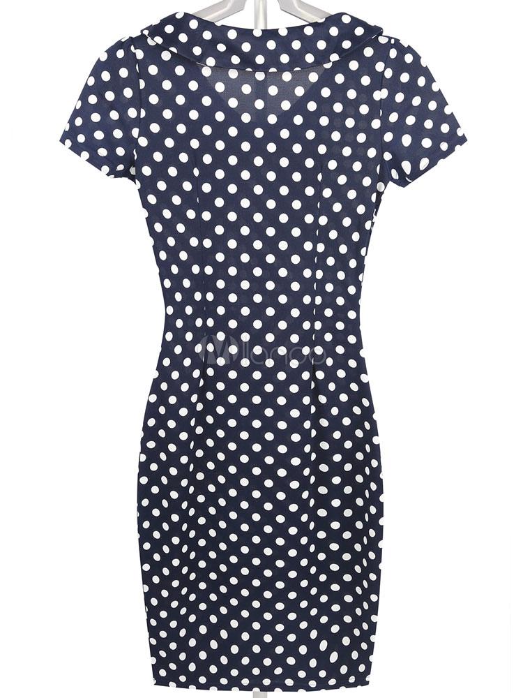 Milanoo / White Pencil Dress Polka Dot Women's Short Sleeve V-neck Bodycon Dress