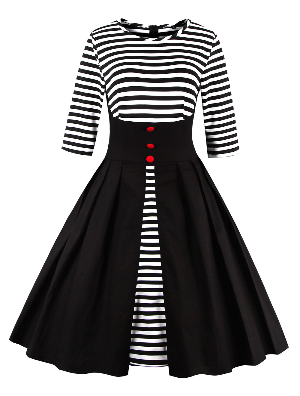 Buy Black Vintage Dress Round Neck 3/4 Length Sleeve Striped Cotton Slim Fit Pleated Flare Dress for $30.19 in Milanoo store