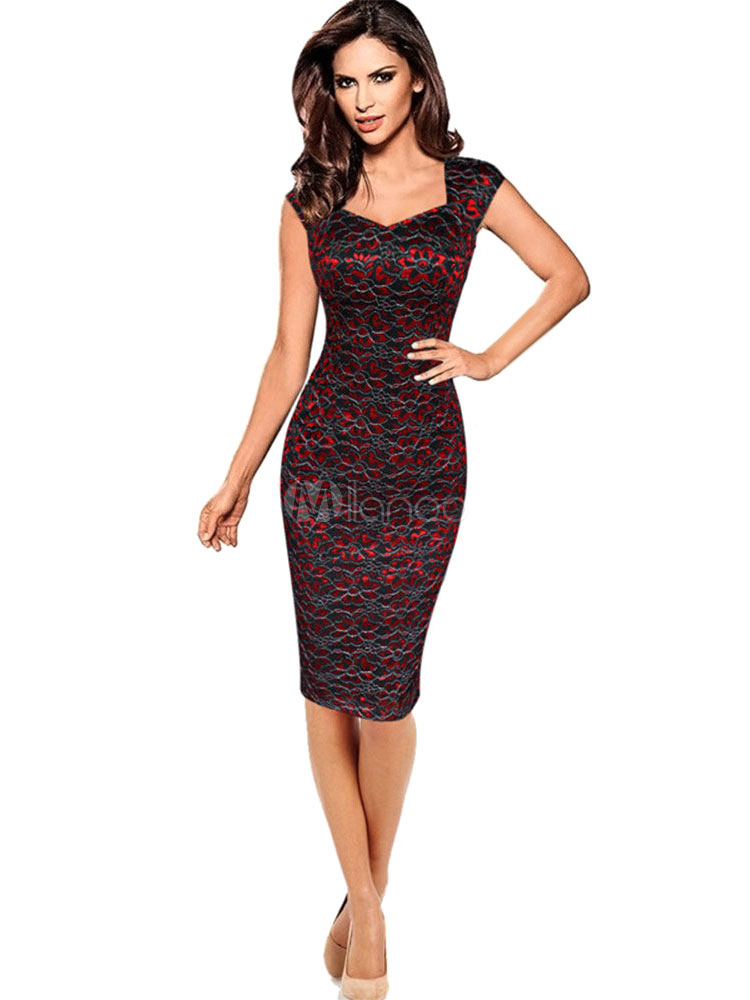 Buy Red Bodycon Dress Lace Sweetheart Collar Sleeveless Cotton Slim Fit Sheath Dress For Women for $35.99 in Milanoo store