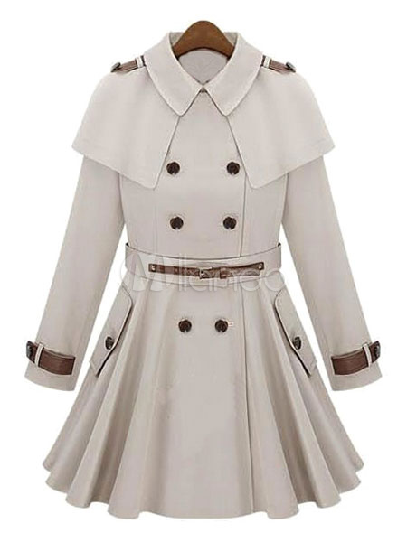 Buy Ivory Trench Coat Women's Turndown Collar Long Sleeve Pleated Slim Fit Cape Wool Dress Coat for $116.99 in Milanoo store