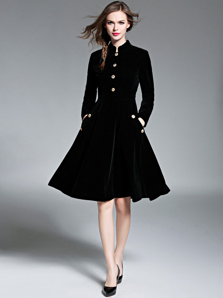 Women Fit And Flare Coat Black Velour Vintage Long Sleeve Stand Collar Button Winter Overcoat