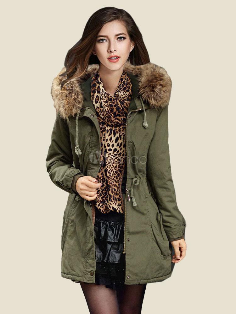 Women Parka Coat Faux Fur Collar Hunter Green  Hooded Long Sleeve Drawstring Winter Coat Cheap clothes, free shipping worldwide