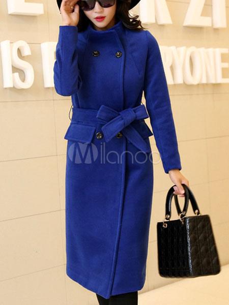 Blue Peacoat Women Woolen Long Sleeve Double Breasted Belt Winter Overcoat