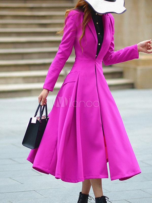 Women Fit And Flare Coat Rose Vintage Long Sleeve Winter Overcoat
