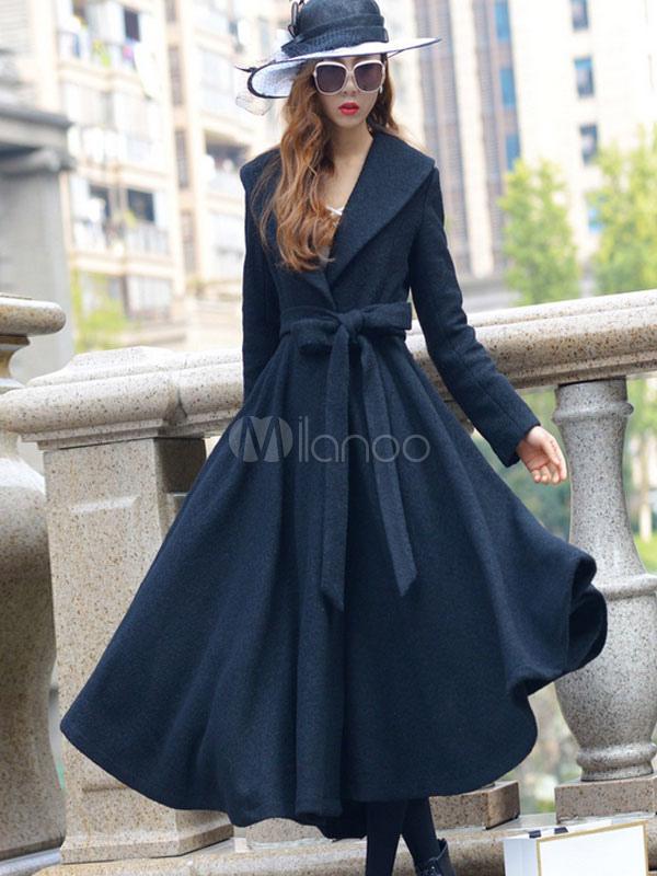 Black Wool Coat Vintage Turndown Collar Long Sleeve Slim Fit Long Dress Coat With Belt