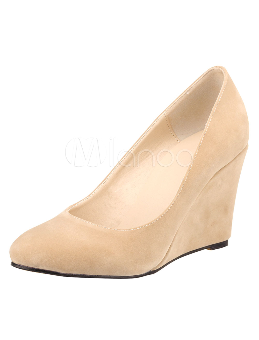 Suede Wedge Pumps Round Toe Slip On Shoes For Women