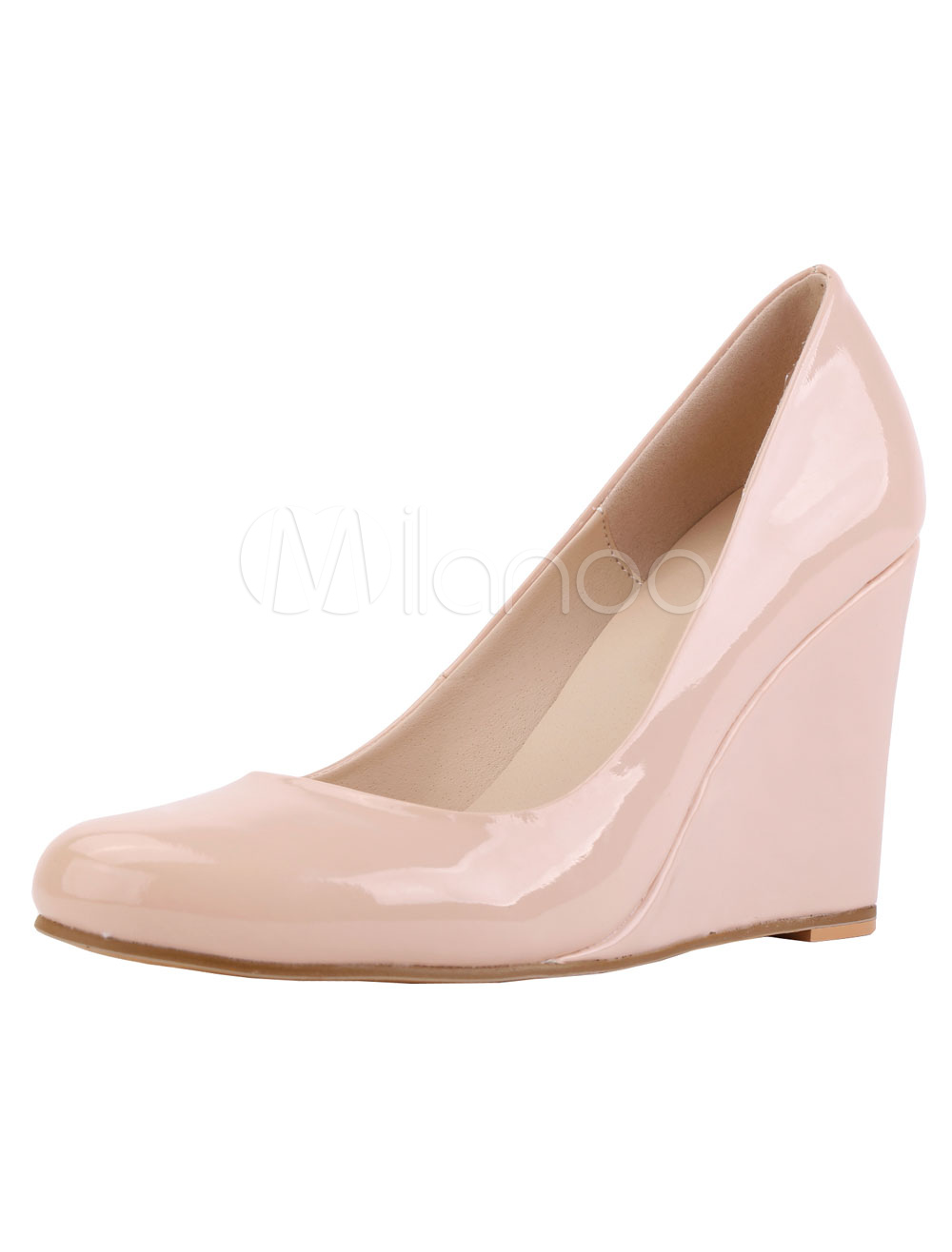 Pink Wedge Pumps Women's Solid Color Slip On Shoes