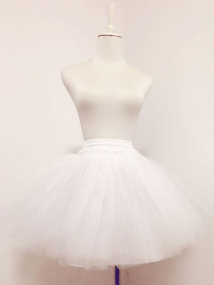 Sweet Lolita Petticoat White Tulle Boneless Tiered Short Lolita Underskirt