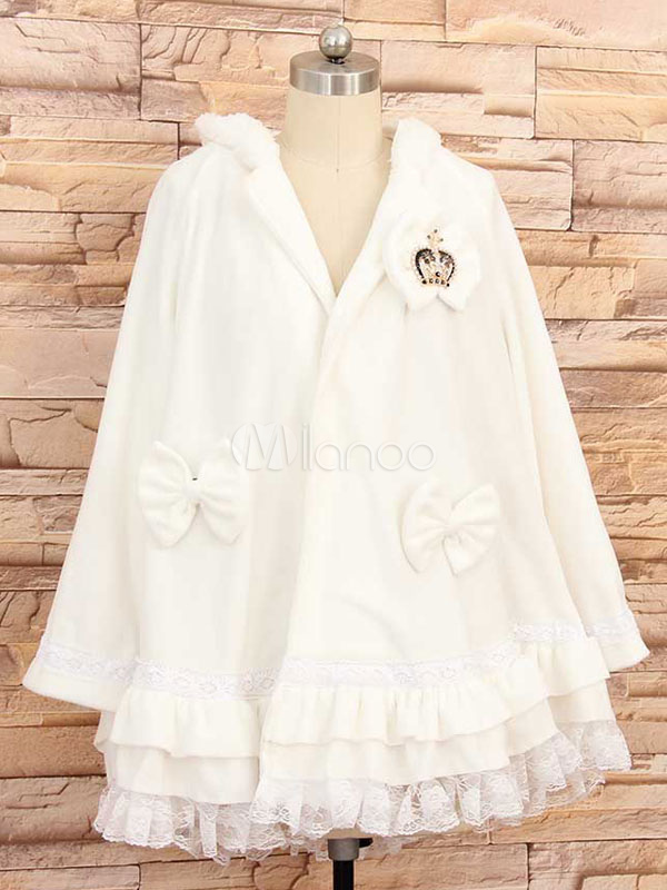 Buy White Lolita Overcoat Hooded Kawaii Fleece Coat Lace Trim Bows Princess Lolita Cape Outwear for $60.79 in Milanoo store