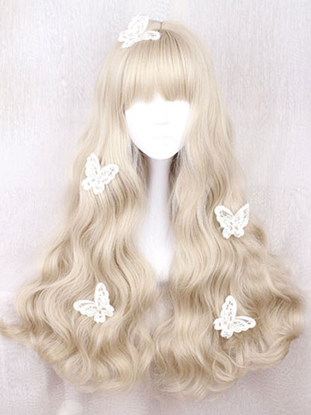 Buy Sweet Lolita Wig Long Curly Blunt Fringe Light Brown Wigs For Lolita for $21.99 in Milanoo store
