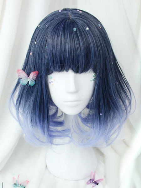 Harajuku Lolita Wig Short Curly Blunt Fringe Royal Purple Heat Resistant Fiber Lolita Wigs