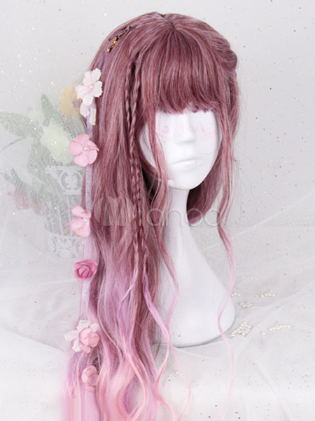 Buy Pink Lolita Wigs Long Curly Harajuku Fashion Heat-resistant Fiber Lolita Wig Accessories for $28.99 in Milanoo store