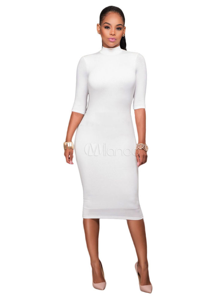 White Bodycon Dresses Women's High Collar Half Sleeve Backless Long Sheath Dress
