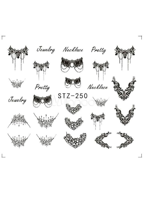 Lolita Nail Stickers Black Printed Women S Pretty Nail Decals