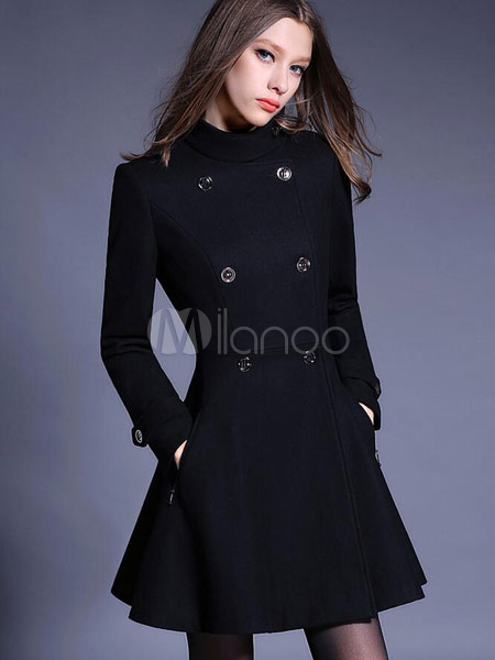 6e2d6309063 Black Pea Coat High Collar Long Sleeve Double Breasted Slim Fit Flared  Tweed Coat For Women ...