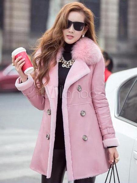 the best attitude db535 bbd3b Winter Mantel Rosa Webpelz Kragen doppel Breasted Langarm schicke Damen  Mantel