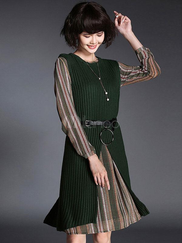 Vestido Conjunto Split Joia Pescoço Feminino Malha Colete E Listrado Vestido De Chiffon Em 2 Partes Com Cinto