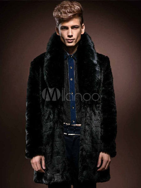 Black Fur Coat Plus Size Turndown Collar Mid Length Faux Fur Winter Coat For Men