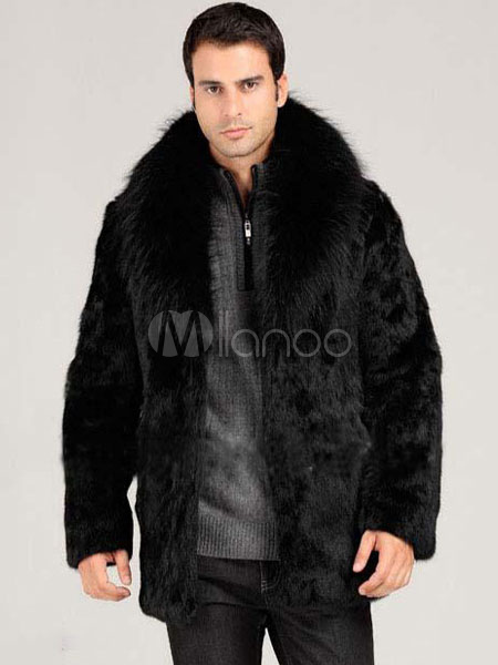 Faux Fur Coat Men's Black Turndown Collar Hook And Eye Fur Jacket