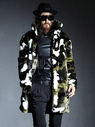 Faux Fur Coat Men Plus Size Camouflage Hook And Eye Winter Coat