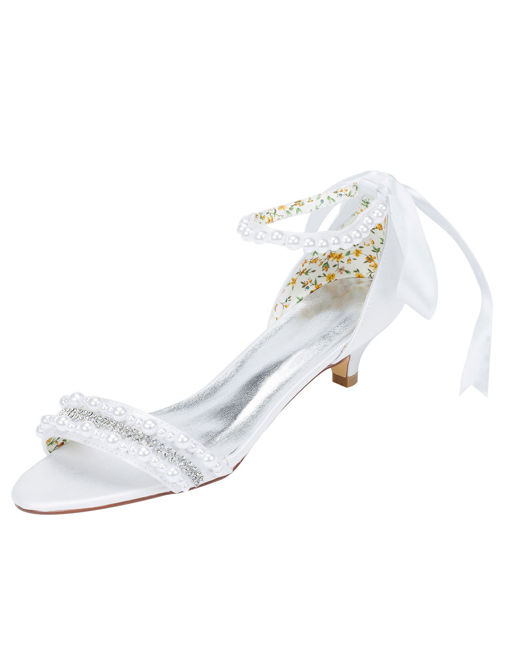 Buy White Wedding Shoes Kitten Heel Sandals Pearl Rhinestone Ankle Strap Bridal Shoes With Ribbon Bow for $51.29 in Milanoo store