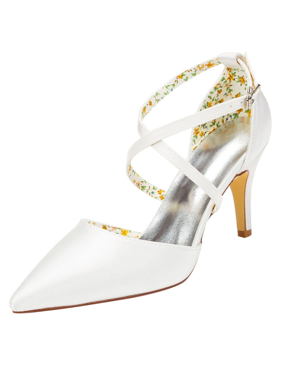 Buy Pointed Toe Bridal Shoes High Heel Criss-Cross White Pumps Women's Stiletto Solid Color Evening Shoes for $49.39 in Milanoo store