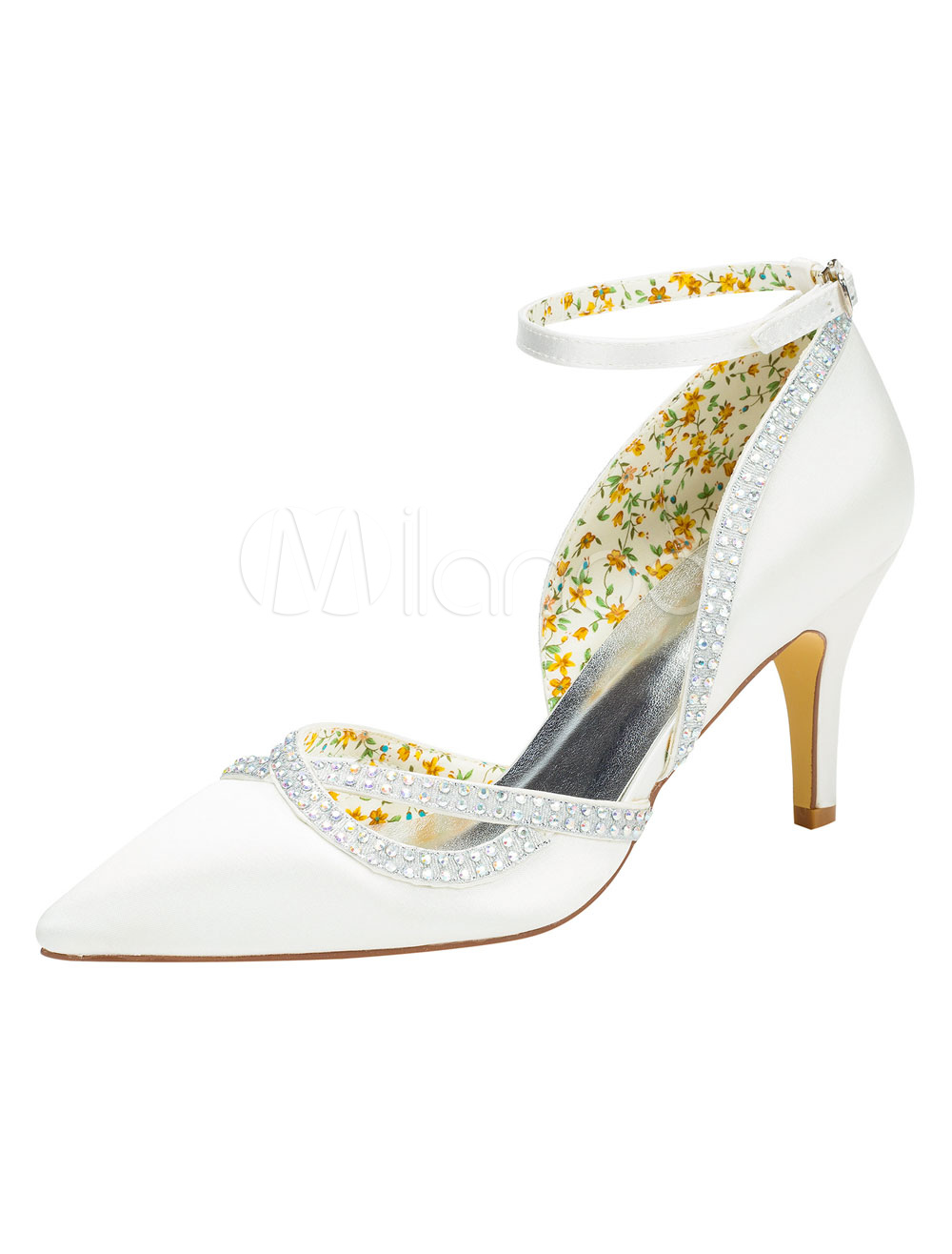 Buy Ivory Bridal Shoes High Heel Ankle Strap Pumps Women's Rhinestones Pointed Toe Evening Shoes for $53.19 in Milanoo store