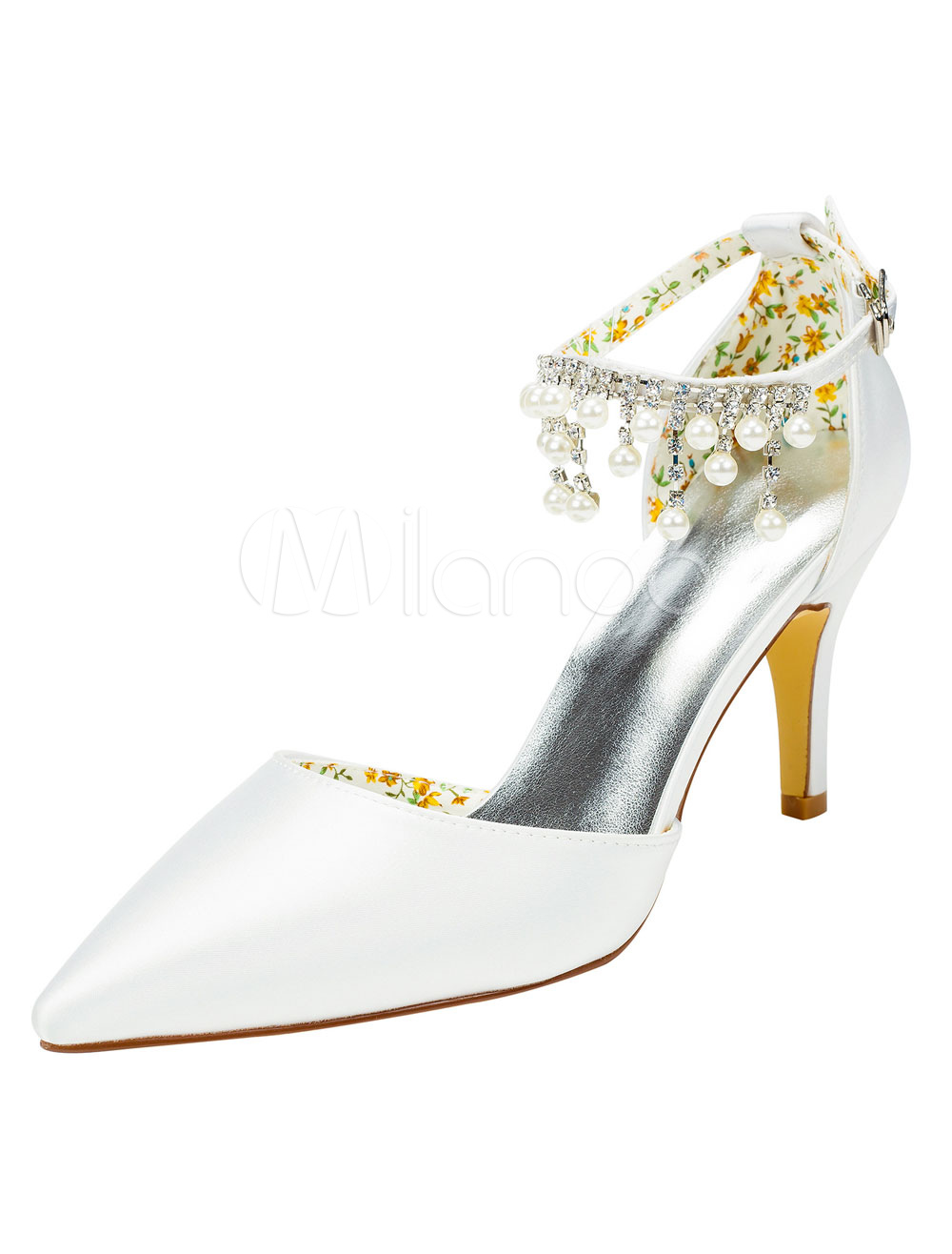 Buy Pearls Bridal Shoes High Heel Pointed Toe White Pumps Women's Ankle Strap Elegant Rhinestones Evening Shoes for $55.09 in Milanoo store