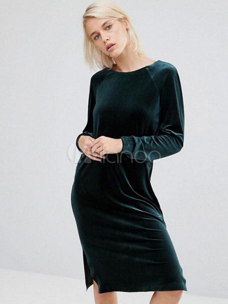 46748de99c5 Velvet Shift Dress Long Sleeve Solid Color Jewel Neck Split Dress For  Women-No.
