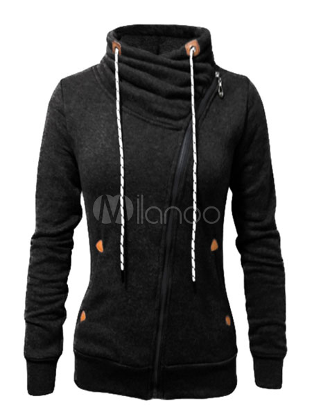 Black Hoodie Women Full Zip Cotton Long Sleeve Drawstring Hoodie Jacket Cheap clothes, free shipping worldwide