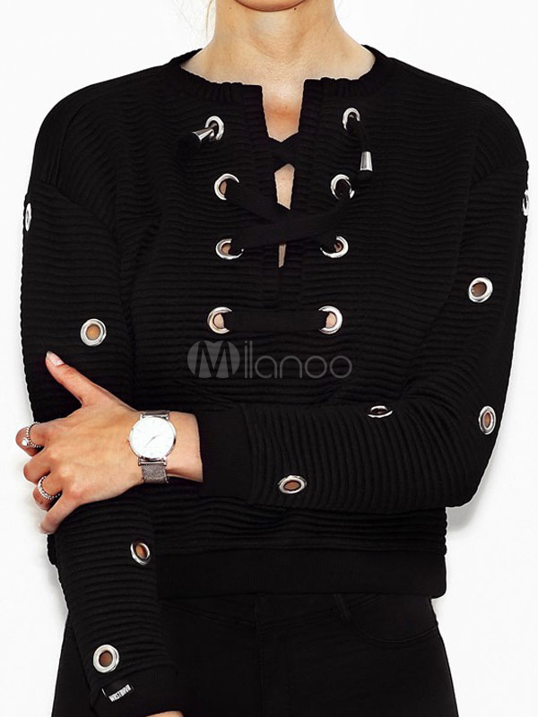 Short Black Sweater Women's Lace Up Grommets Round Neck Casual Pullovers Cheap clothes, free shipping worldwide