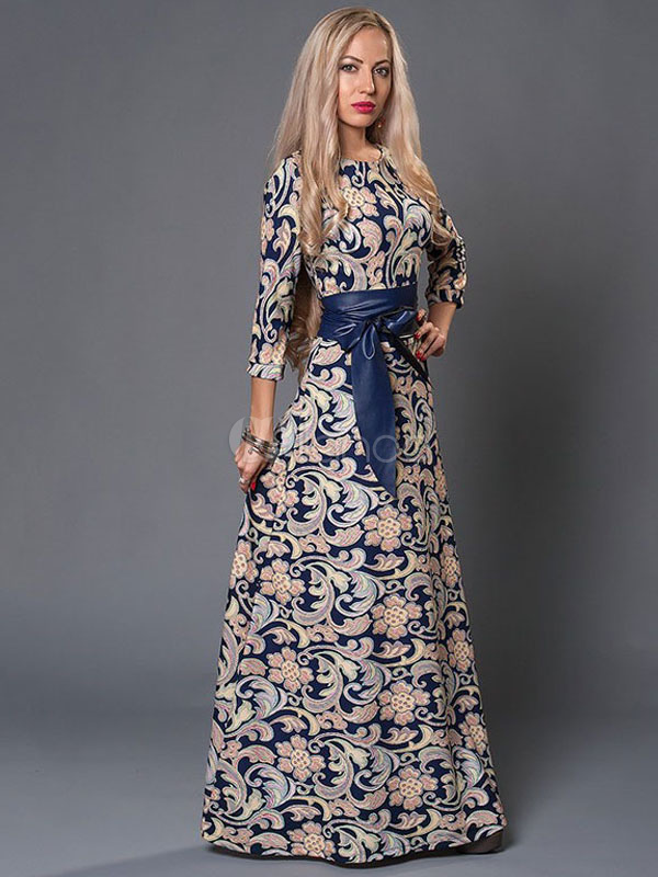 Buy Women's Maxi Dress Deep Blue Printed 3/4 Length Sleeve Shaping Slim Fit Long Dress With Sash for $36.54 in Milanoo store