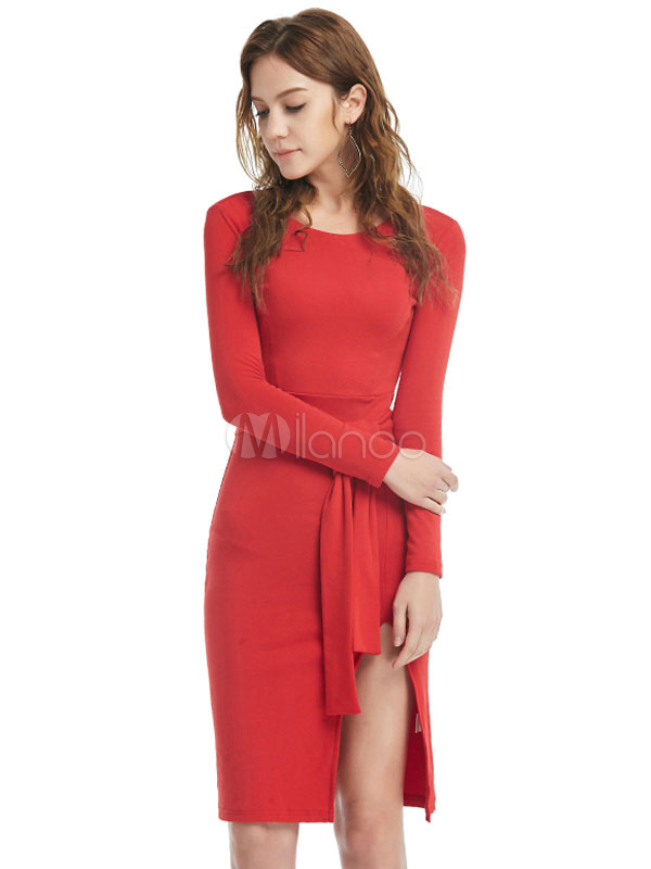 Red Sweater Dress Long Sleeve Split Slim Fit Knit Bodycon Dress For Women With Sash Cheap clothes, free shipping worldwide