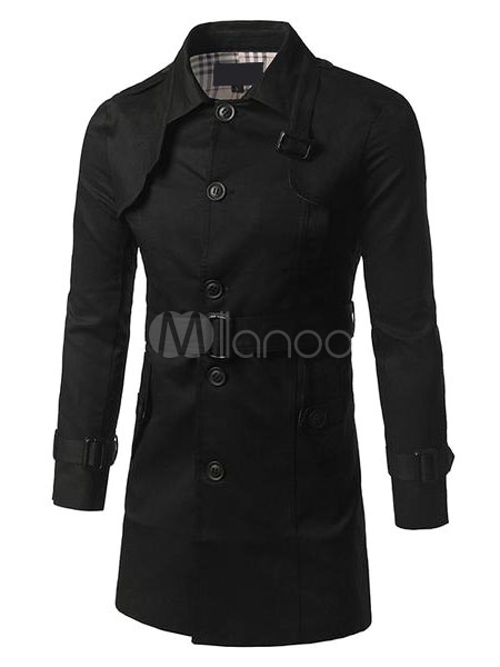 Buy Men's Black Coat Long Sleeve Turndown Collar Belted Button Winter Coat for $73.79 in Milanoo store