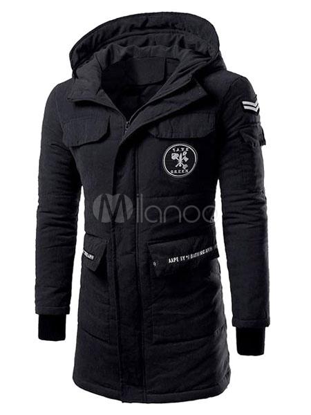 the best attitude 5a93a 366e6 Parka uomo verde con cappuccio manica lunga cerniera tasche fidanzato  inverno cappotto