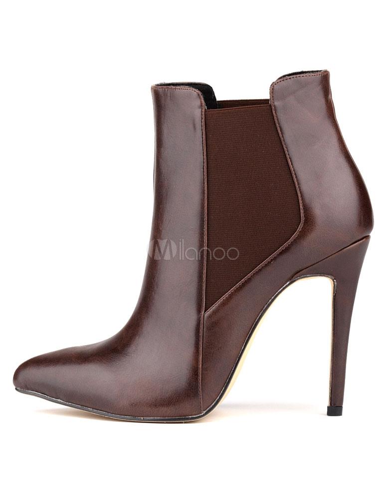 et en Boots bout aigus à Bottine pointu PU talons femme unicolore wPOn0k