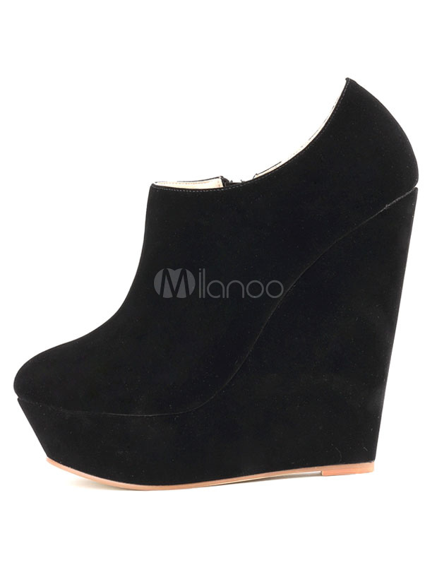 Suede Ankle Boots Red Round Toe Zip Up Low Top Wedge Booties For Women by Milanoo