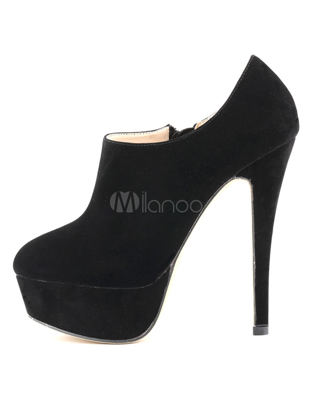 Sexy Ankle Boots High Heel Black Platform Suede Booties For Women